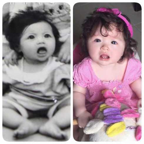 Trên trang cá nhân, Elly Trần khoe cô lục lại được tấm hình thuở ấu thơ, giống hệt con gái Cadie.