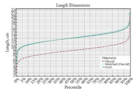 Biểu đồ trên cho thấy chiều dài trung bình dương vật của nam giới - theo cm - trong mỗi phần trăm.