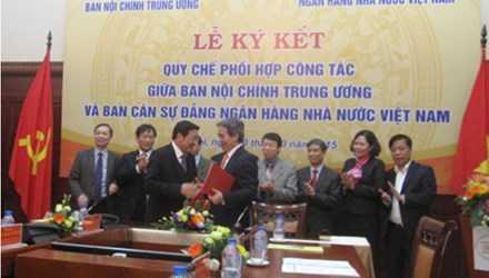 Lễ ký kết quy chế phối hợp giữa Ban Nội chính Trung ương và Ngân hàng Nhà nước.