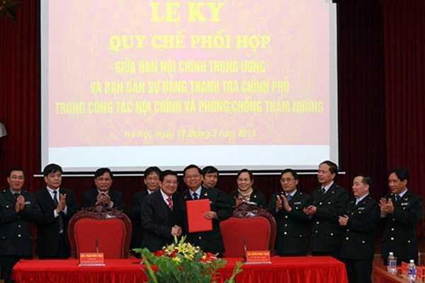 Lễ ký kết giữa Ban Nội chính Trung ương và Thanh tra Chính phủ.