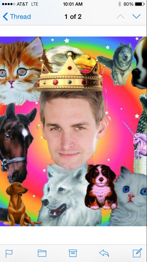 Một hình ảnh được fan gửi tặng CEO của Snapchat