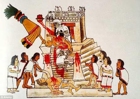 Hình vẽ cổ xưa mô tả một buổi hiến tế của người Aztec