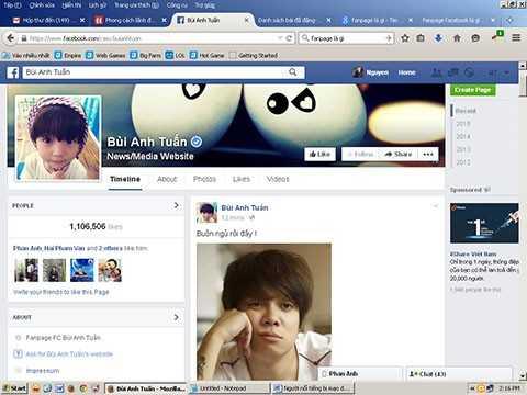 Trang facebook mang tên Bùi Anh Tuấn thỉnh thoảng vẫn chia sẻ thông tin về ca sĩ này. Nhưng hoạt động bình thường là chia sẻ những thông tin lá cải