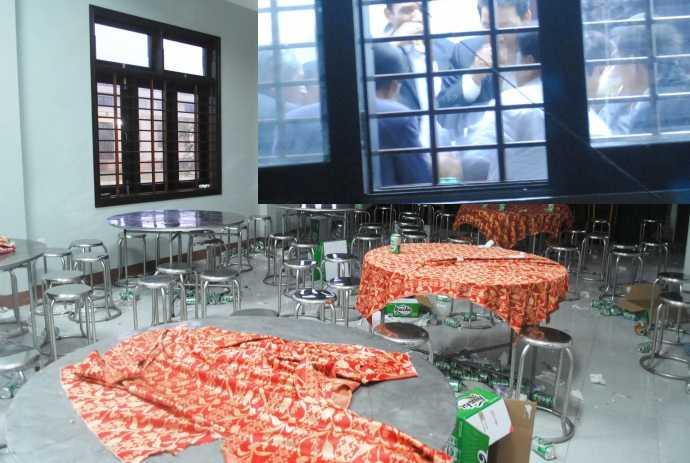 Vỏ lon bia nằm vương vãi khắp phòng, nhưng Chủ tịch huyện, ông Hồ Quang Minh nói không có chuyện...nhậu