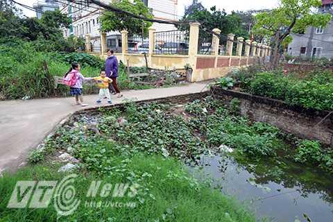 Trẻ em đi học về phải chạy thật nhanh để tránh muỗi ở các con mương bị ô nhiễm.