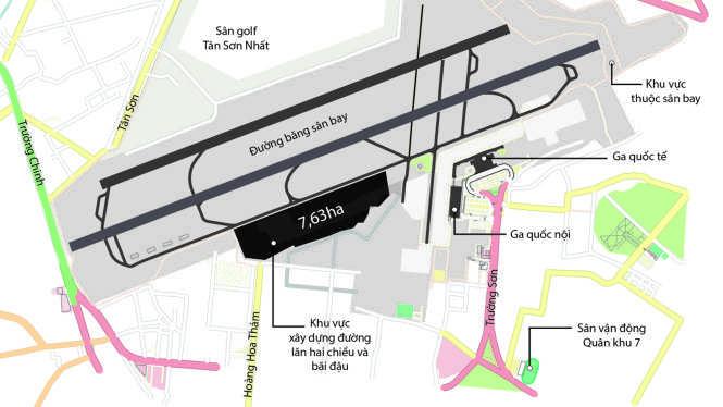 Khu vực mở rộng đường lăn, bãi đậu sân bay Tân Sơn Nhất có diện tích 7,63ha Đồ họa: N.Khanh