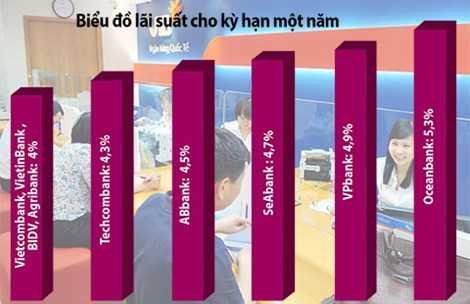 Lãi suất huy động kỳ hạn ngắn giảm sâu nhưng không đều giữa các ngân hàng. Ảnh: YÊN TRANG - Đồ họa: KP