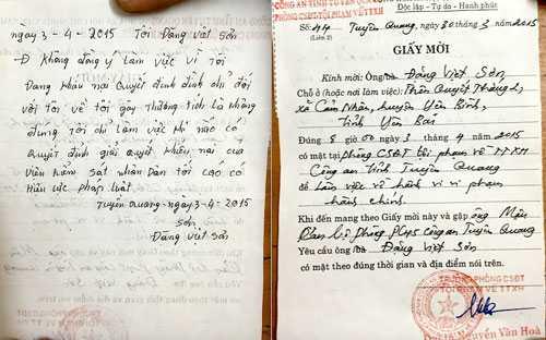 Giấy mời và bút tích từ chối làm việc của anh Đặng Việt Sơn