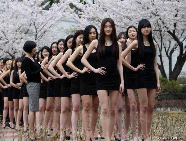 Buổi catwalk ngoài trời được tổ chức dưới tán hoa anh đào đang nở rực rỡ, tương phản với bộ đồ đen bó sát khoe triệt để dáng vóc ưu tú của những nữ sinh đầy sức sống đem lại hiệu quả thẩm mỹ rõ rệt.