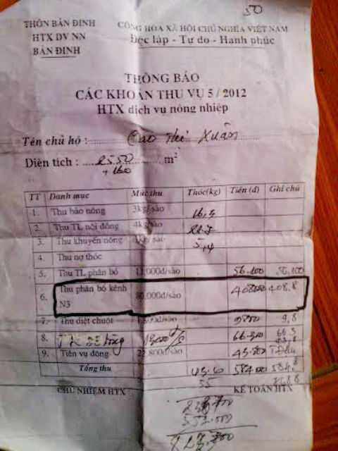 Phiếu thông báo thu tiền của Hợp tác xã thôn Bản Định