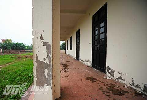 Những mảng tường bong tróc, dọc hành lang của ngôi trường là nơi cho trâu bò, động vật phóng uế bừa bãi