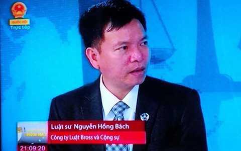 Luật sư Nguyễn Hồng Bách trong Chương trình Câu chuyện hôm nay của Truyền hình Quốc hội nói về vụ án của Vũ Phan Điền