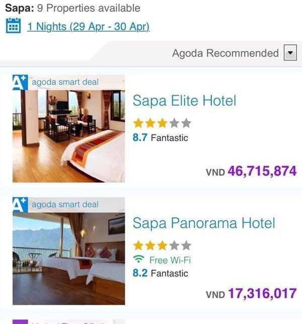 Giá phòng khách sạn 3 sao tại Sapa trong dịp lễ 30/4 -1/5 lên đến hơn 46 triệu đồng một đêm (Ảnh chụp từ màn hình tại trang web Agoda).