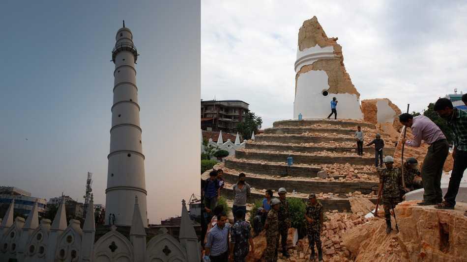 Đền Bhimsen nổi tiếng ở Kathmandu, Nepal trước và sau thảm họa