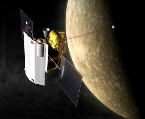 Mô phỏng tàu thăm dò Messenger của NASA. Ảnh:CNN