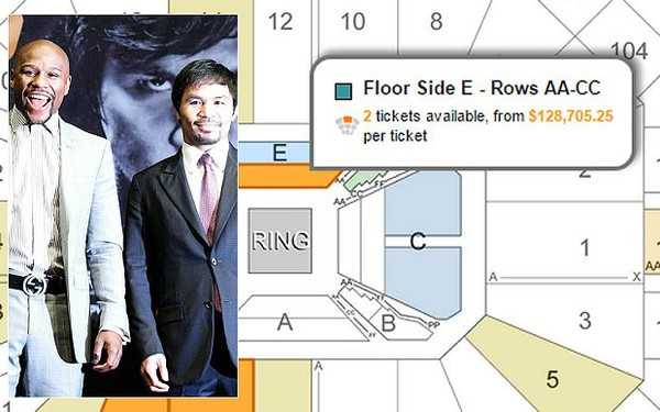 Chiếc vé ở khu VIP của sàn đấu được bán với giá siêu đắt.