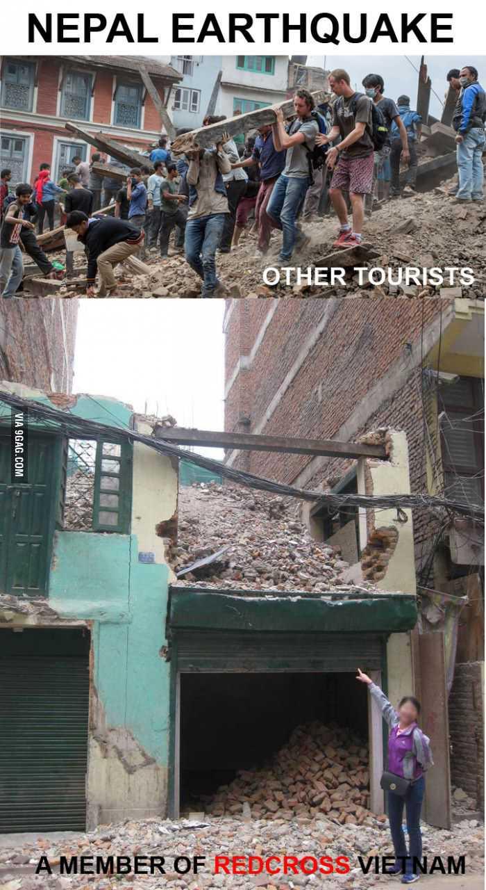 Hình ảnh bà Nguyễn L.H 'tự sướng ở Nepal' bị mang ra giễu nhại                (ảnh đã được VTC News làm mờ mặt)