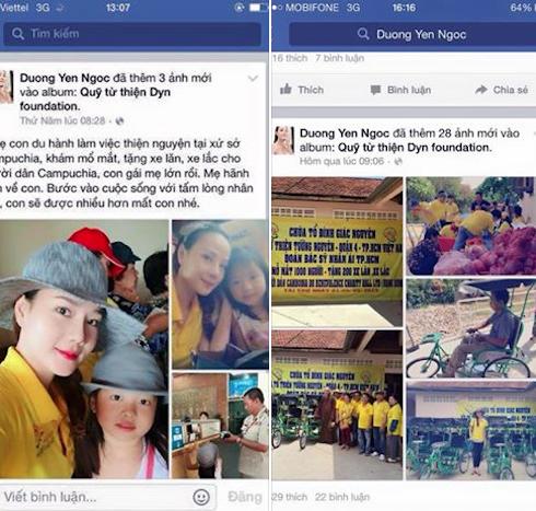 Những hình ảnh do Dương Yến Ngọc đăng tải trong album 'Quỹ từ thiện Dyn Foundation' trên trang cá nhân.