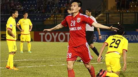 Công Vinh là người ghi bàn thắng duy nhất của trận đấu