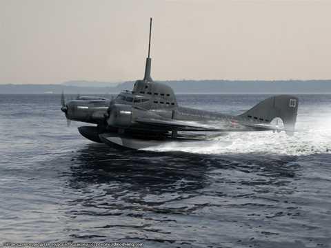 Hình ảnh đồ họa, mô phỏng Tàu ngầm bay trong dự án tham vọng của Liên Xô những năm 1940