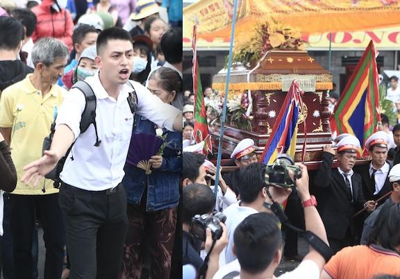 Các nghệ sỹ Việt vất vả đưa linh cữu Duy Nhân ra khỏi Vãng Sanh Đường.