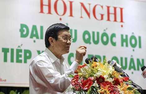 Chủ tịch nước Trương Tấn Sang: 'Cử tri hãy tin vào trung ương'. Ảnh: NGUYỄN HOÀNG