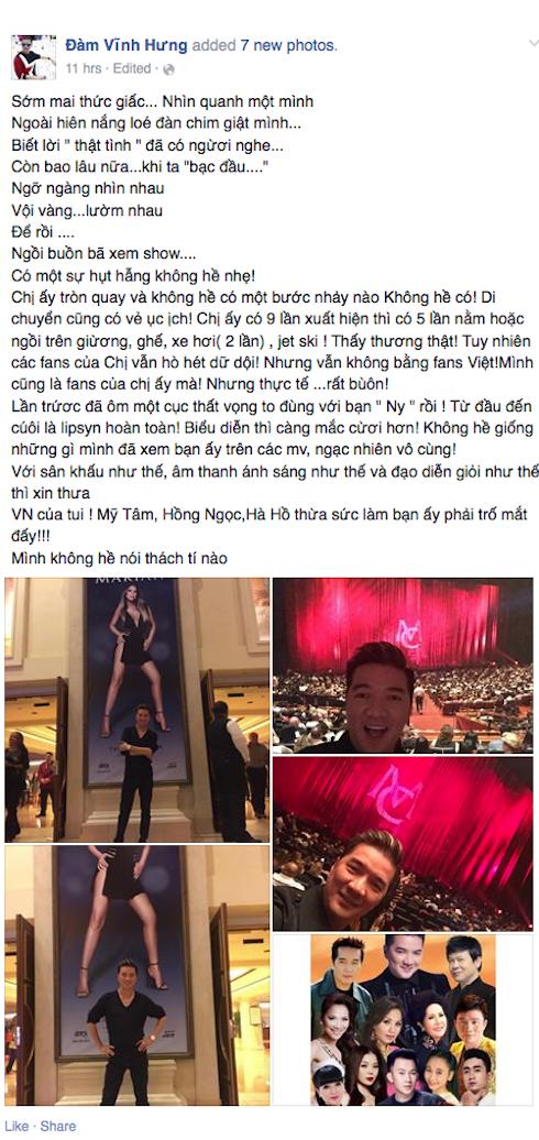 Ảnh chụp màn hình facebook Đàm Vĩnh Hưng.