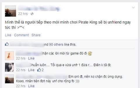Phản ứng của một người dùng FB bị làm phiền bởi những lời mời liên tiếp