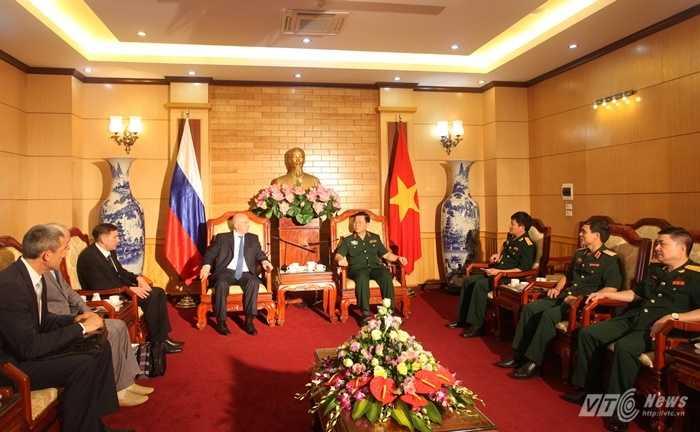 Quang cảnh buổi tiếp đoàn đại biểu Cục phản gián quân sự, Cơ quan an ninh Nga - Ảnh: Hồng Pha