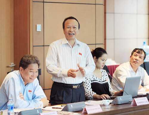 Đại biểu Quốc hội tỉnh Hải Dương Lê Đình Khanh phát biểu ở tổ. Ảnh: An Đăng - TTXVN