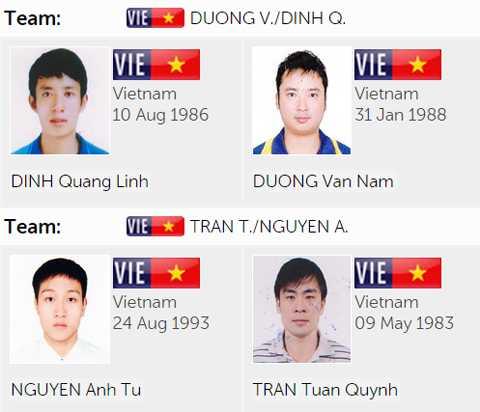 4 vận động viên thi đấu nội dung đôi nam của bóng bàn Việt Nam