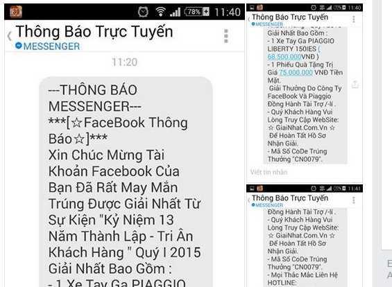 Một loại tin nhắn lừa người sử dụng Facebook trúng xe Liberty - Ảnh chụp màn hình