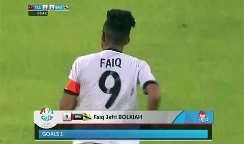 Faiq ghi bàn gỡ hòa 1-1 cho U23 Brunei