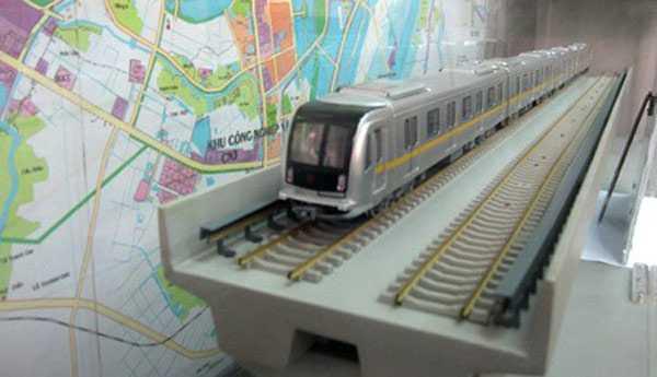 Hình ảnh mô hình đoàn tàu chạy trên đường sắt trên cao Cát Linh - Hà Đông.