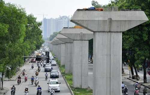 Tuyến đường sắt trên cao Cát Linh - Hà Đông đang trong quá trình thi công