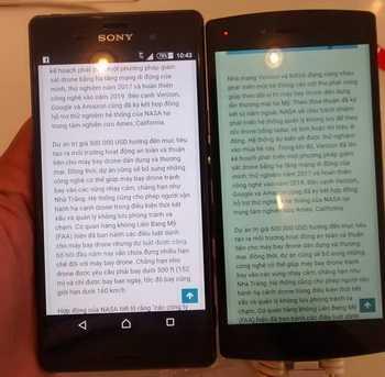 Chất lượng hiển thị của Bphone (trái) kém xa Sony Z3