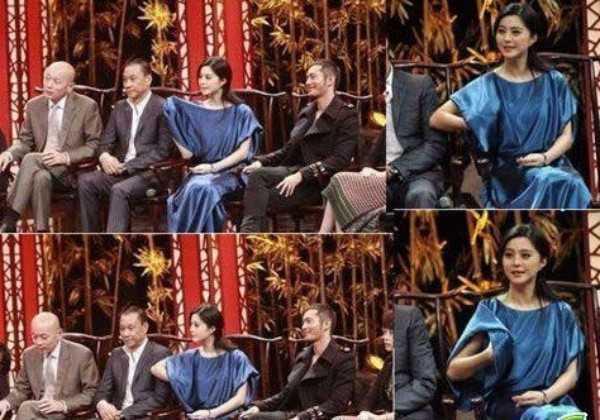 Trong buổi họp báo phim, Phạm Băng Băng vui vẻ đưa tay hẳn vào trong áo chỉnh trang phục.