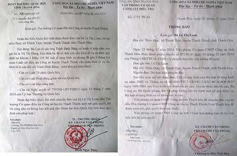Đoàn đại biểu quốc hội chuyển nội dung đơn đến Công an huyện Thạch Thành và thông báo của Công an tỉnh Thanh Hóa.