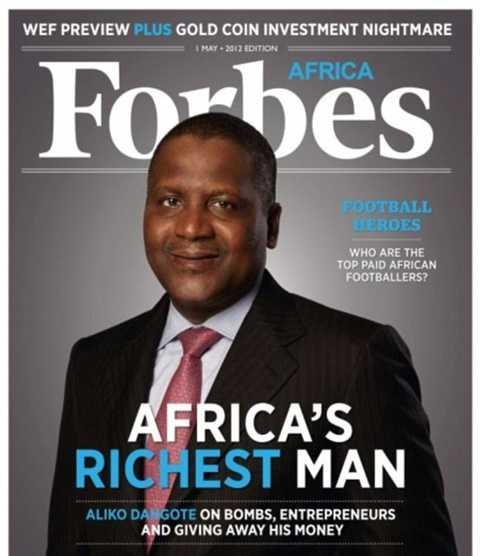 Aliko Dangote trên bìa tạp chí Forbes