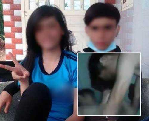 Hình ảnh mặn nồng của nữ sinh và bạn trai. Bên dưới là clip sex được tung lên mạng