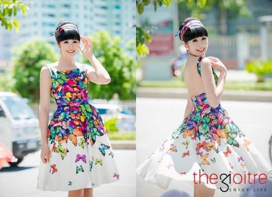 Hoa hậu Ngọc Hân diện một chiếc váy trẻ trung tới dự sự kiện.