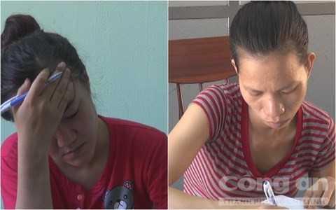 Cơ quan công an lấy lời khai Nguyễn Thị Vân và Phan Thị Anh.