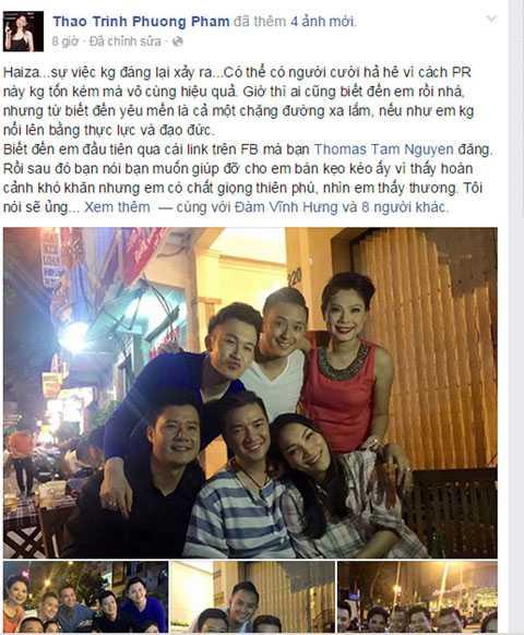 Nội dung câu chuyện được Thanh Thảo chia sẻ trên trang cá nhân.