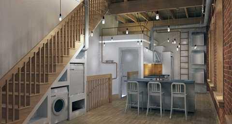 Hoặc nếu cần thiết, đặc biệt là dành cho những ngôi nhà với không gian bị hạn chế, bạn hoàn toàn có thể đặt một chiếc máy giặt hoặc tủ lạnh - hoặc cả hai dưới gầm cầu thang.
