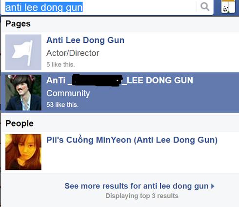 Nhiều trang được lập ra để anti Lee Dong Gun