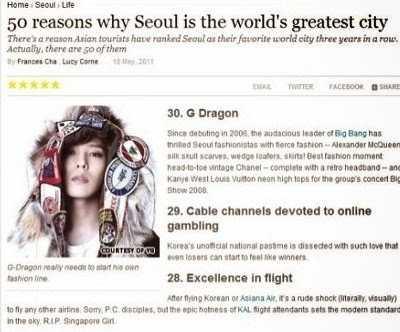 G-Dragon từng được CNN liệt vào 1 trong 50 lý do khiến Seul là thành phố tuyệt nhất thế giới