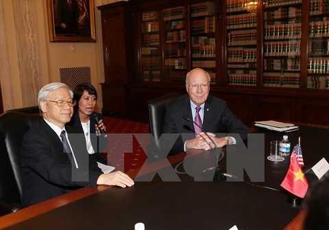 Tổng Bí thư Nguyễn Phú Trọng làm việc với nguyên Chủ tịch Thường trực Thượng viện Hoa Kỳ Patrick Leahy