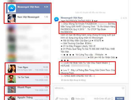 Một tin nhắn mạo danh Facebook để lừa đảo trúng thưởng.