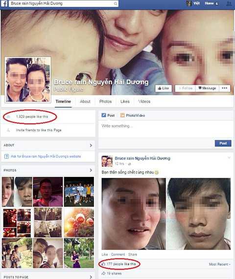Một tài khoản facebook giả mạo nghi phạm Nguyễn Hải Dương được gần 2.000 người quan tâm.