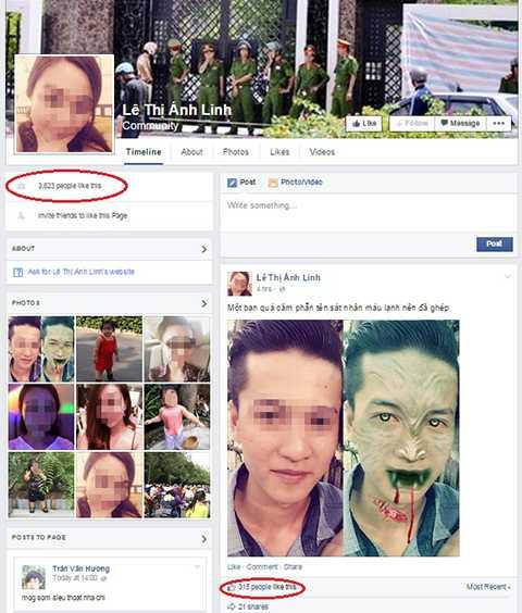Tài khoản mạng xã hội bị giả mạo của nạn nhân Linh trên Facebook đã có hành nghìn lượt theo dõi